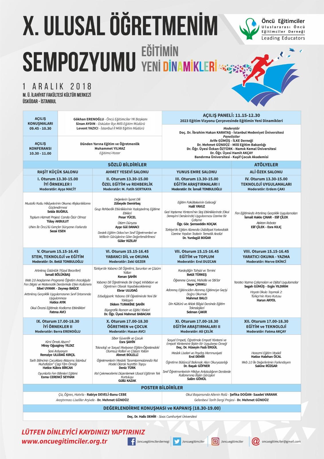 2018-12-01 - Eğitimin Yeni Dinamikleri: X. Ulusal Öğretmenim Sempozyumu - Eğitim Araştırma Dernekleri